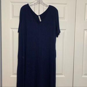 Zenana premium plus v-neck maxi dress navy 3x